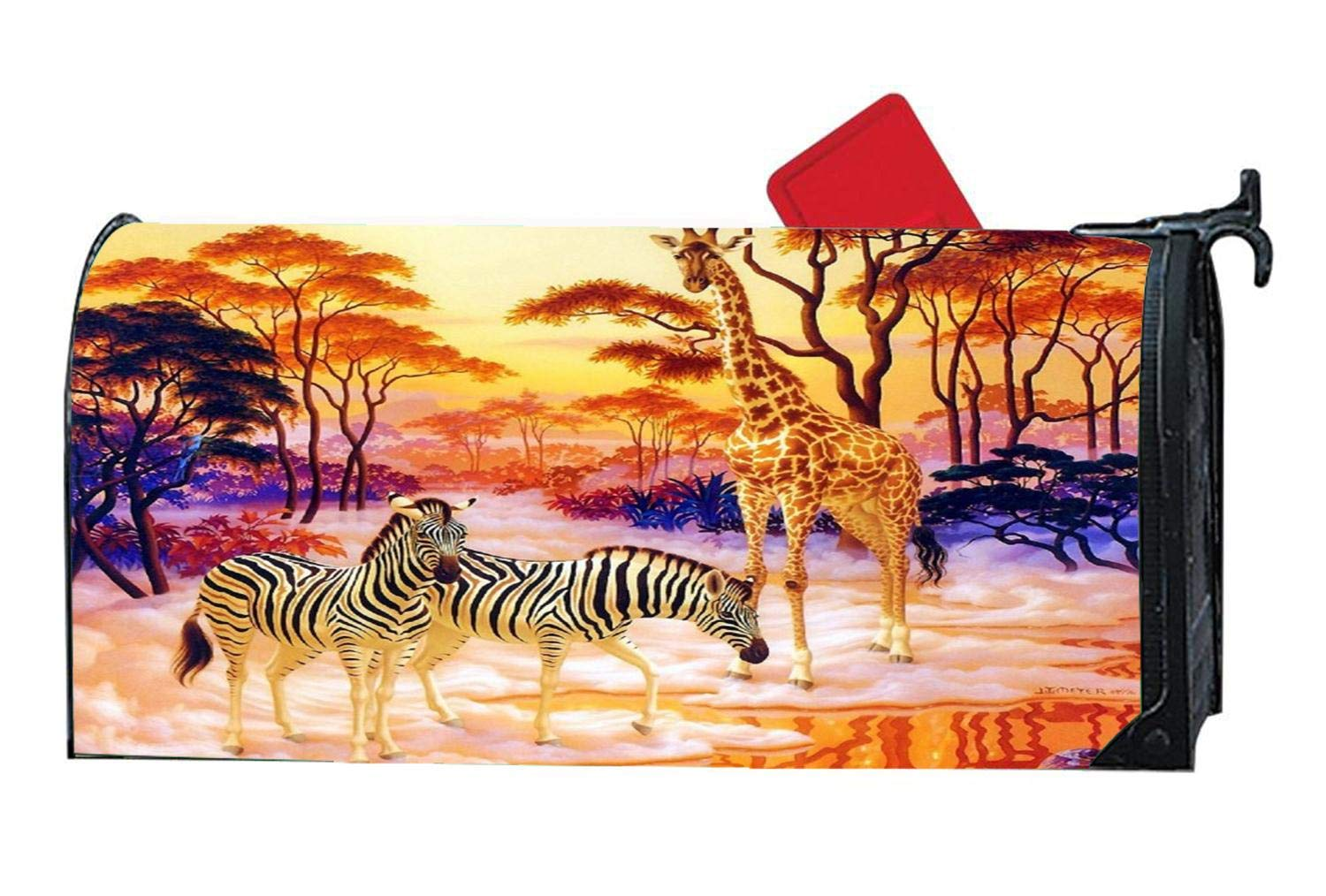 Africa Wildlife Sunset Giraffe Personalized Decorative Magnetic Mailbox Cover Vinyl Standard Mailbox Wrap with Animals Design 6.5 x 19