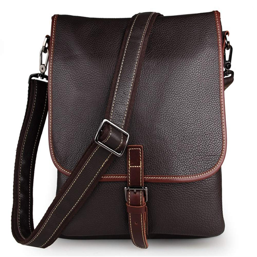 Amyannie Laptop Messenger Bag Men's and Women's Leather Postman Shoulder Bag Can Hold IPad Tablet Bag Briefcase Laptop Messenger Bag (Color : Brown)