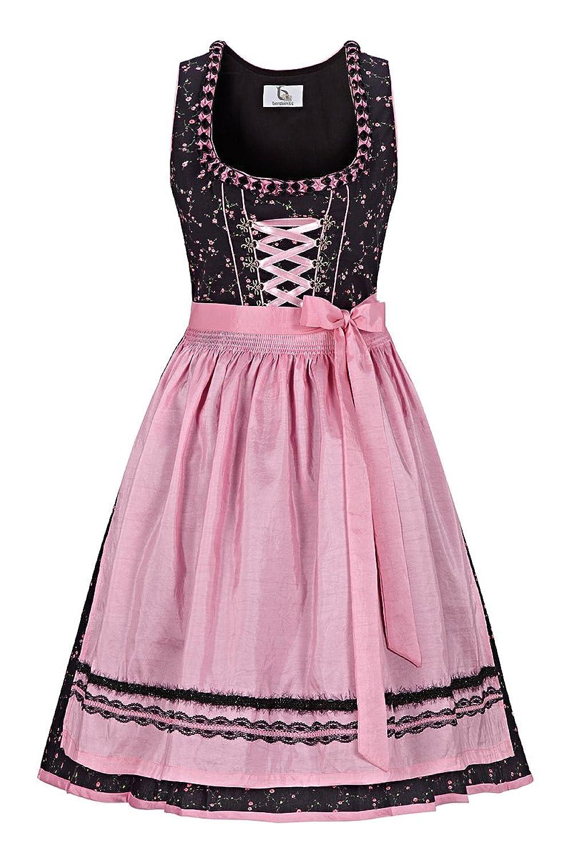 Bergweiss Trachten Damen Mini Dirndl 60er schwarz-rosa Fiona 131667