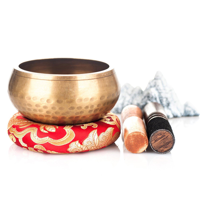 chakra e musica -Fatto a mano in Nepal legno Striker relax Kangrinboqe 4.4 Set Campana Tibetana tibetano per meditazione yoga con cuscino in seta zen legno in pelle Striker-Design antico-vero grande dono per la guarigione yoga reiki