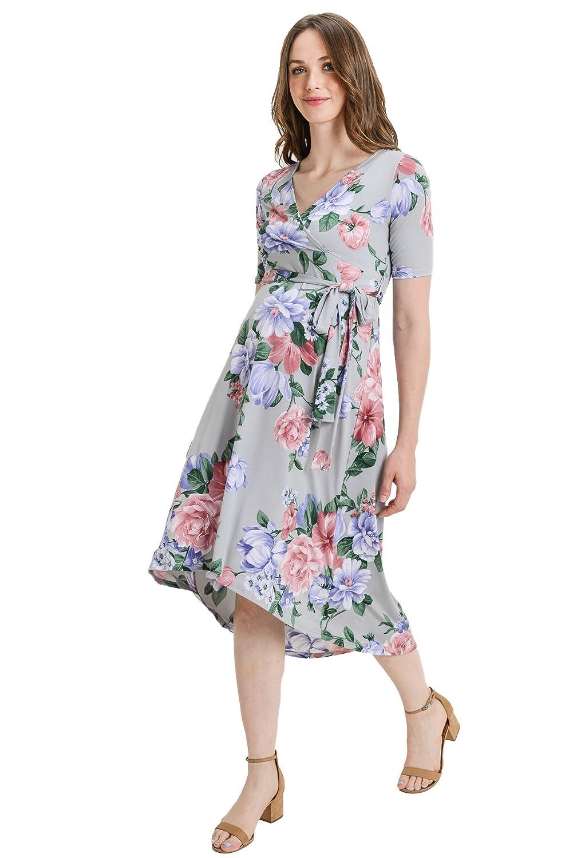 Hello MIZ DRESS レディース B07FNZMVCM Medium|Grey/Multi Flower Grey/Multi Flower Medium