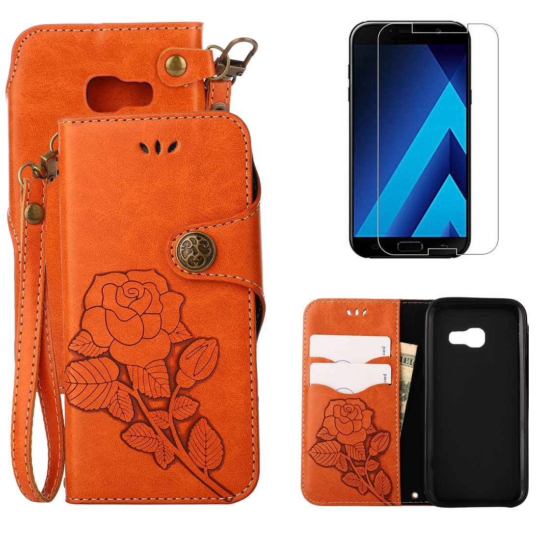 For Samsung Galaxy A5 2017 A520 Wallet Case with Screen Protector , OYIME [ Elegant Vintage Rose ] Classic Design Flip Bookstyle Leather Holster with Wrist Lanyard Kickstand Magnetic Card Slots Function Full Body Protective Cover - Black