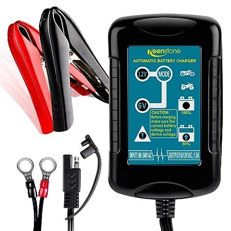 keenstone Batterie Ladegerät 6/12V 1.5A, Smart Batterieladegerät Erhaltungsladegerät 4 Schritt Vollautomatisches Laden für Au