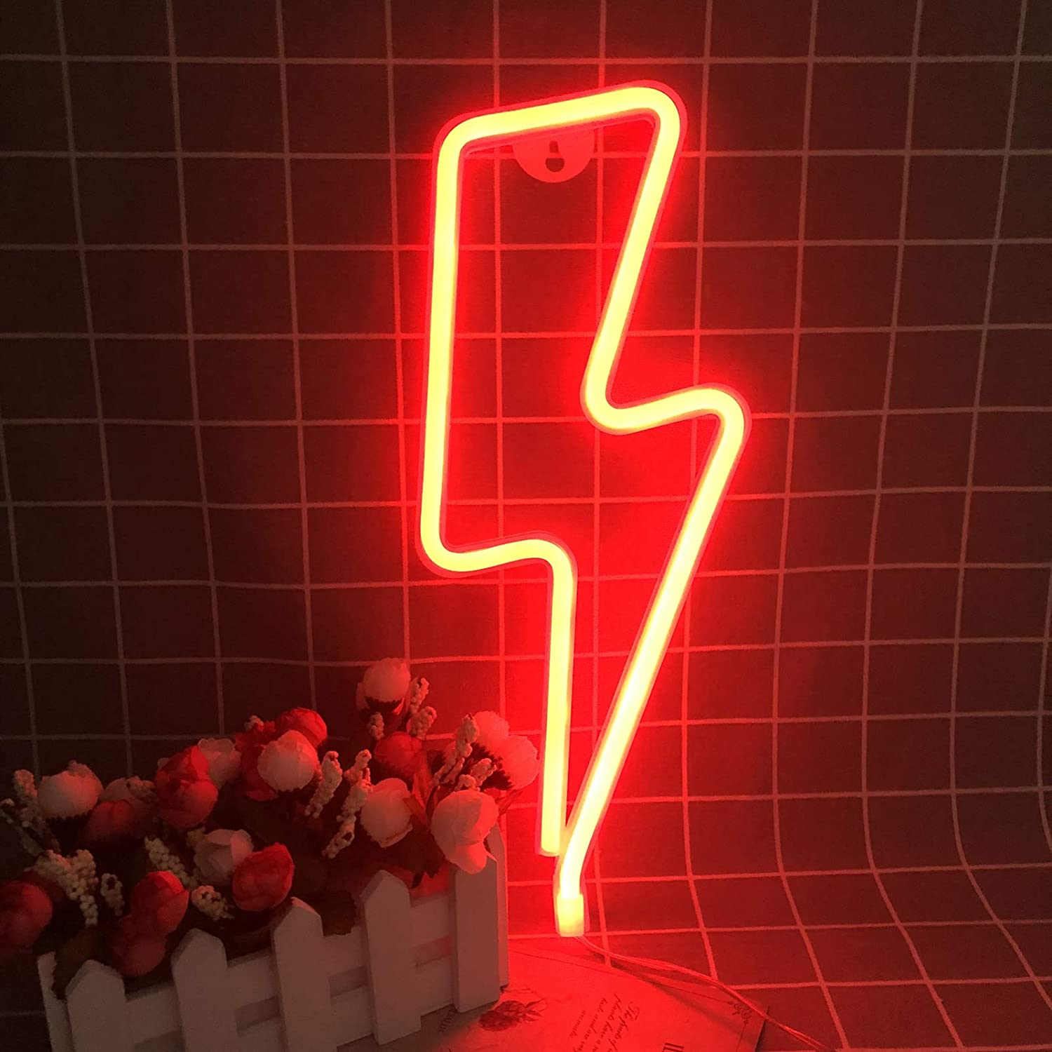 Red Neon Night Light Led Lightning Signs Wall Decorative For Living Room Bar Decor Birthday Party Halloween Amazon Com