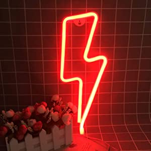 Red Neon Night Light LED Lightning Signs Wall Decorative for Living Room Bar Decor Birthday Party Halloween