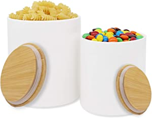 2 Pack Ceramic Large Food Storage Jar with Airtight Seal Bamboo Lid, DeeCoo 54 FL oz (1600 ML) & 27 FL oz (800 ML) Kitchen Utensil Holder/Canister for Oatmeal, Tea, Coffee, Spice, Nuts and Dry Goods