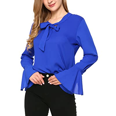 Mixfeer Women's Tie Bow Neck Chiffon Blouse Long Sleeve Slim Fit Casual Blouse at Amazon Women's Clothing store