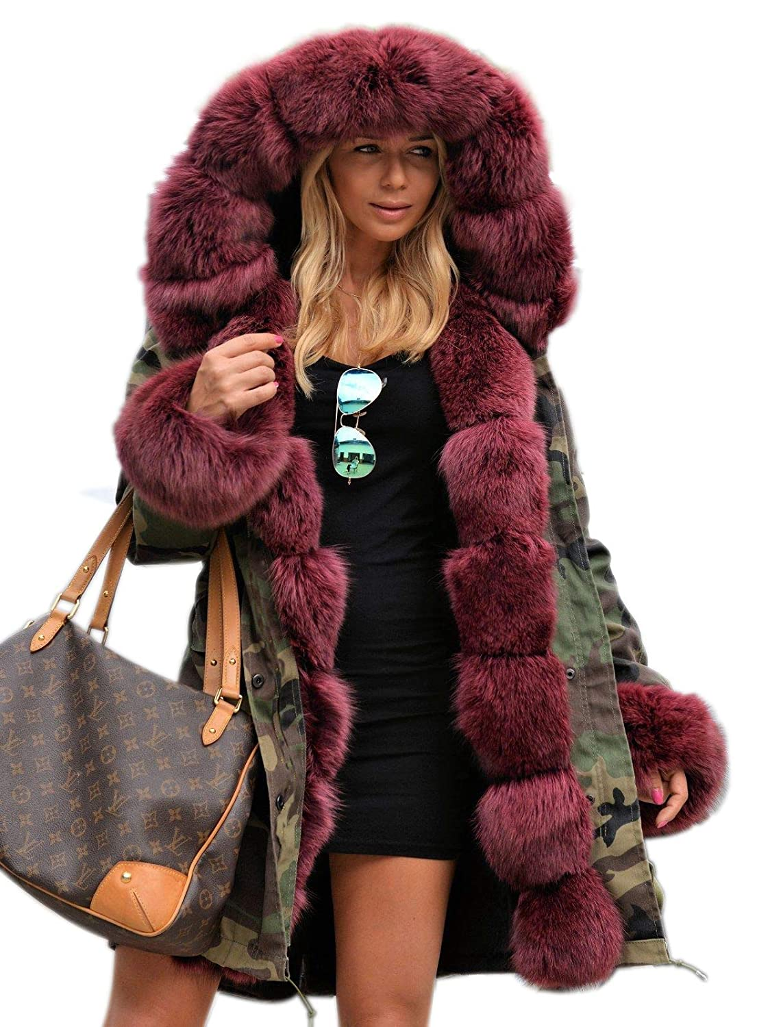 Aox Fashion Winter Coat for Women Red Faux Fur Camo Hoodie Pullover Jacket Parka Outwear Aox 201720