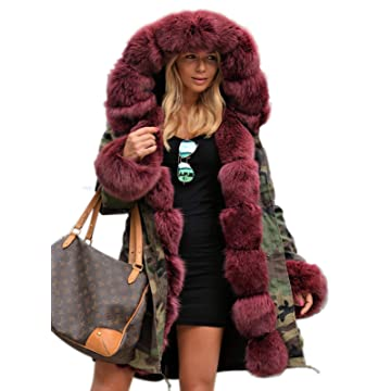 e98245a4c08 Aox Women Fashion Winter Coat with Faux Fur Hood Thicken Warm Casual Plus  Size Outdoor Jacket Parka