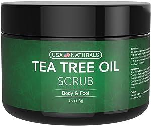 Tea Tree Oil Foot & Body Scrub - Antifungal Treatment - Exfoliating Scrub with Essential Oils - Smooths Calluses - Helps With Athlete's Foot, Acne, Jock Itch & Dead, Dry Skin (4oz Tea Tree Foot Scrub)