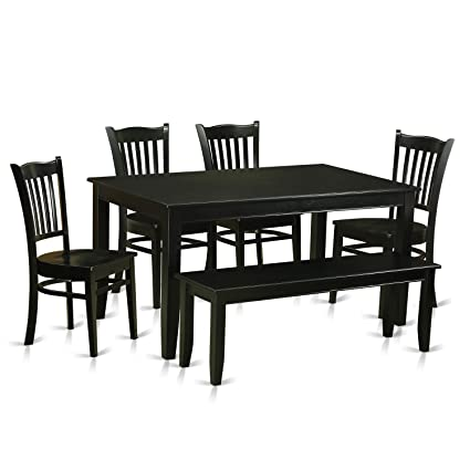 East West Furniture DUGR6-BLK-W 6 Piece Kitchen Table and 4 Dining Chairs  with Bench Set