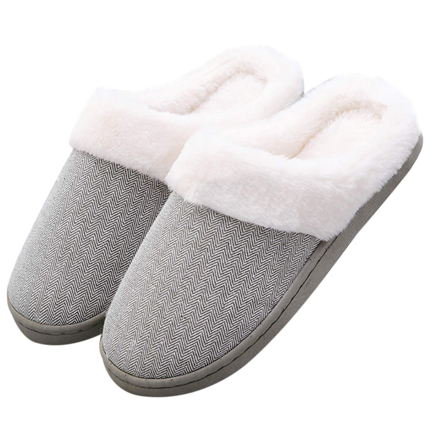 Hawiton Womens/Mens House Slipper Fuzzy Plush Lining Slip On Shoes Anti-Skid Sole for Indoor/Outdoor Winter Light Green by Hawiton