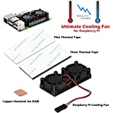 Raspberry Pi Fan, iUniker Raspberry Pi Heatsink Fan Dual Fan and RAM Copper Heatsink for Raspberry Pi 3, Raspberry Pi 2,Raspberry Pi B+ (2 Pack Thermal Tape)