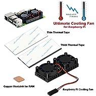 iuniker Raspberry Pi Fan, Raspberry Pi Heatsink Fan Dual Fan and RAM Copper Heatsink for Raspberry Pi 3 Model B, Raspberry Pi 2 Model B (Not Compatible with Pi 3 B+)