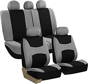 FH Group FB030GRAYBLACK115 full seat cover (Side Airbag Compatible with Split Bench Gray/Black)