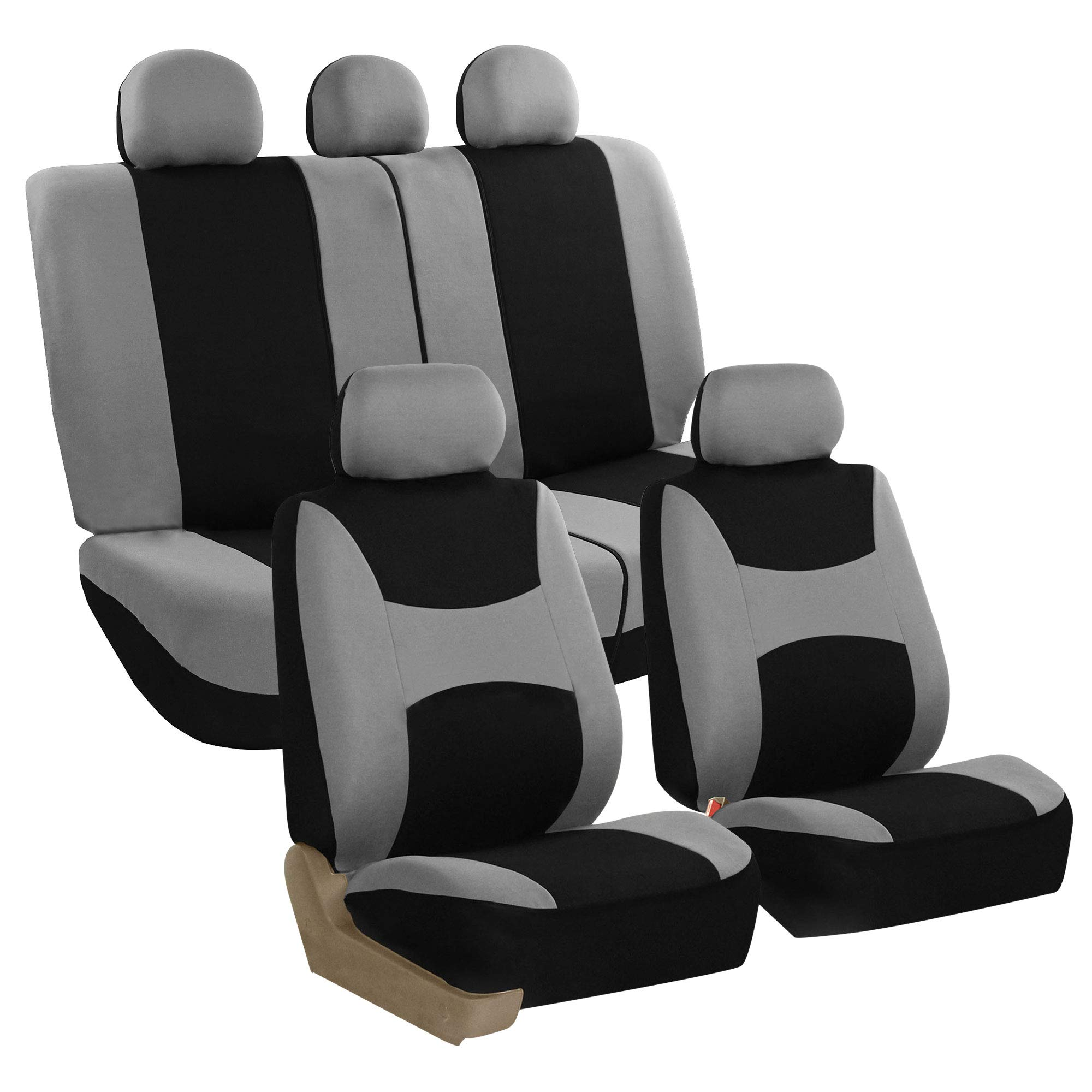 FH Group Light & Breezy Cloth Seat Cover Set Airbag & Split Ready, Gray/Black- Fit Most Car, Truck, SUV, or Van by FH Group