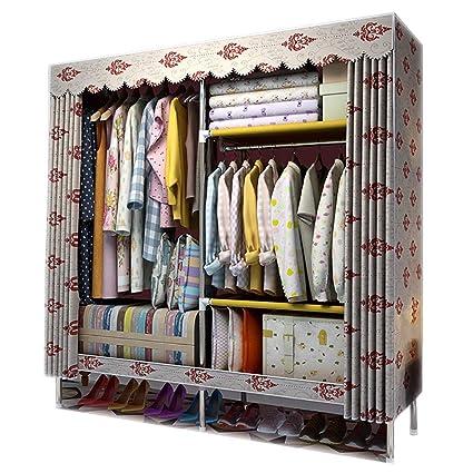. Amazon com  Cloth Wardrobe Bedroom Closet  Large Double Storage