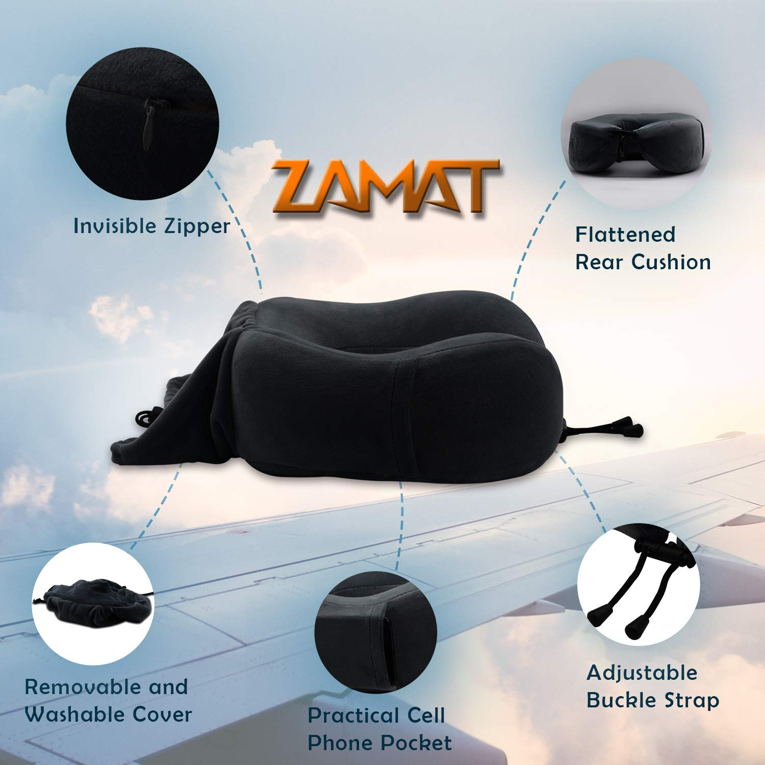 360/° Stable Neck Support Airplane Pillow with Soft Velour Cover Adjustable Travel Neck Pillow for Airplane Travel Portable Bag Blue ZAMAT Breathable /& Comfortable Memory Foam Travel Pillow