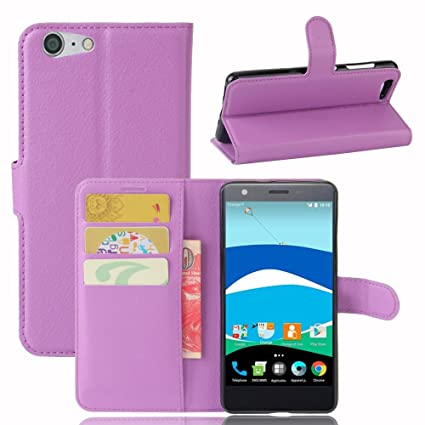 Guran® Funda de Cuero PU Para ZTE Blade V770 Smartphone Función de Soporte con Ranura para Tarjetas Flip Case Cover Caso-púrpura
