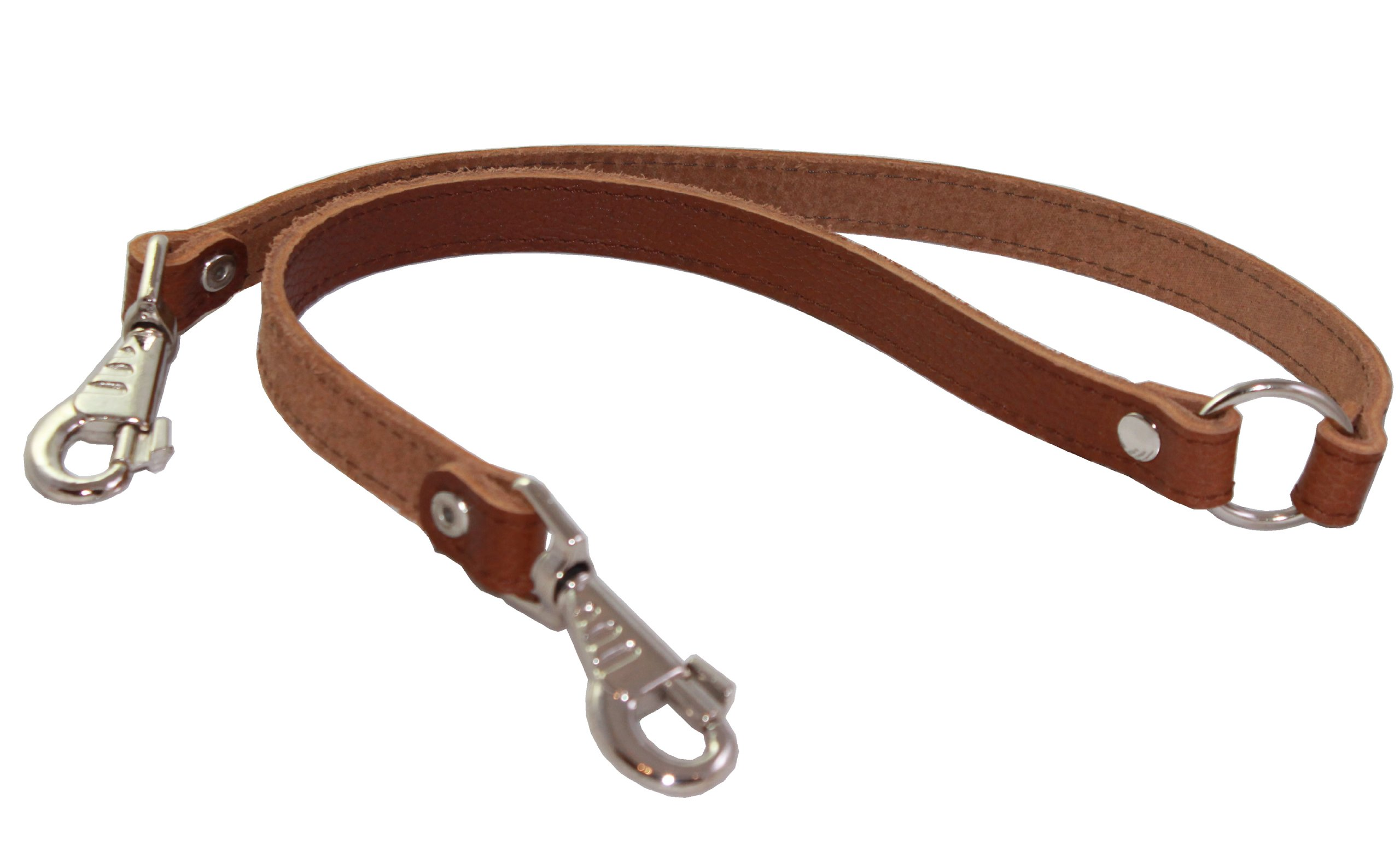 Genuine Leather Double Dog Leash - Two Dog Coupler (Brown, Large (16''L x 7/8''W))