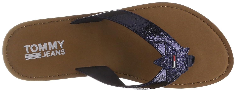 Hilfiger Denim Damen Glitter Beach Sandal Zehentrenner  37 EU|Blau (Midnight 403)