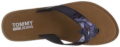 Hilfiger Denim Damen Glitter Beach Sandal Zehentrenner, Silber (Silver 000), 41 EU