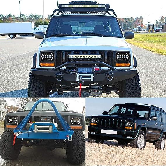 Republe 5X7 7X6 Pulgadas H4 LED Proyector Faro Hi-Lo Beam DRL Compatible para Jeep Wrangler Cherokee XJ YJ