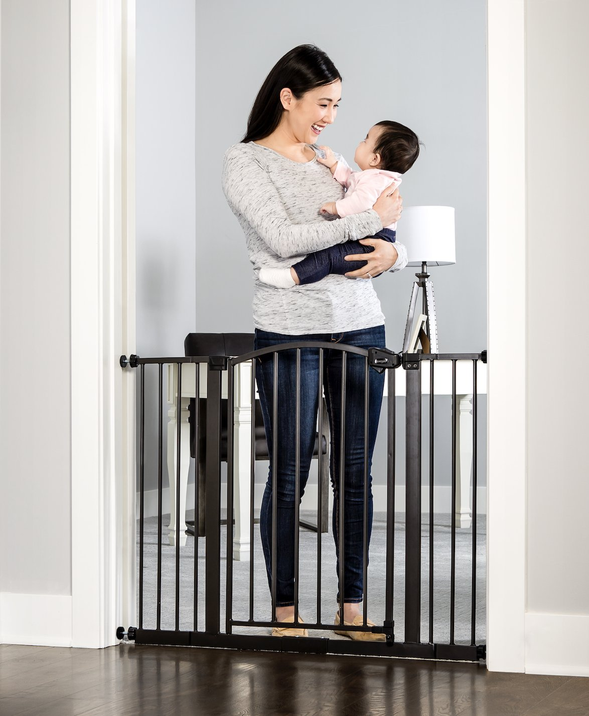 Regalo Easy Step Arched Décor Walk Thru Baby Gate, Includes 4-Inch Extension Kit, 4 Pack Pressure Mount Kit and 4 Pack Wall Mount Kit, Bronze by Regalo