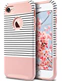 iPhone 7 Case, ULAK Colorful Series Slim Fit Hybrid Dual Layer Scratch Resistant Hard Back Cover Shock Absorbent TPU Bumper Case for Apple iPhone 7 4.7 inch, Rose Gold/Black Stripe