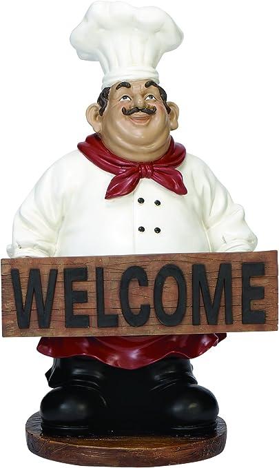 Amazon Com Plutus Brands Polystone Chef Decorative Item Brown White And Black Home Kitchen