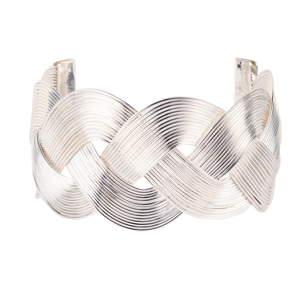 Miss Mimi Wide Weave Gold/Silver Plated Embossed Vintage Arm Cuff Bracelet (Silver)
