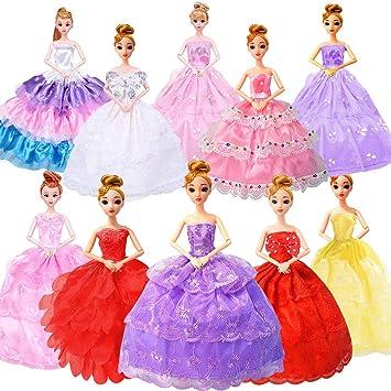 WENTS Abiti Vestiti alla Moda 7 Pezzi Moda Vestito da Principessa e 10 Paia di Scarpe per Bambola Barbie