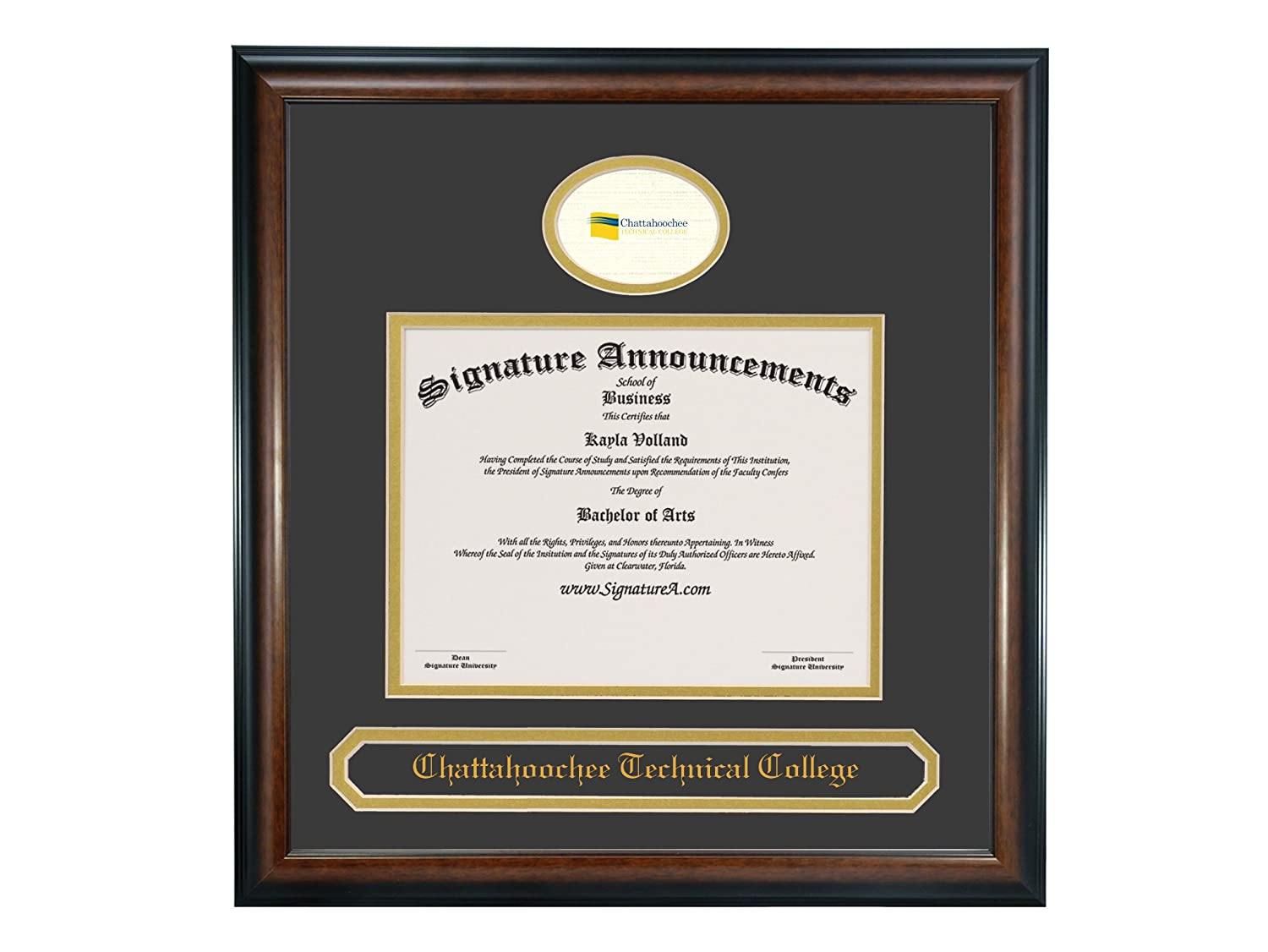 Signature Announcements Chattahoochee-Technical-College Undergraduate Professional//Doctor Sculpted Foil Seal /& Name Graduation Diploma Frame 16 x 16 Matte Mahogany