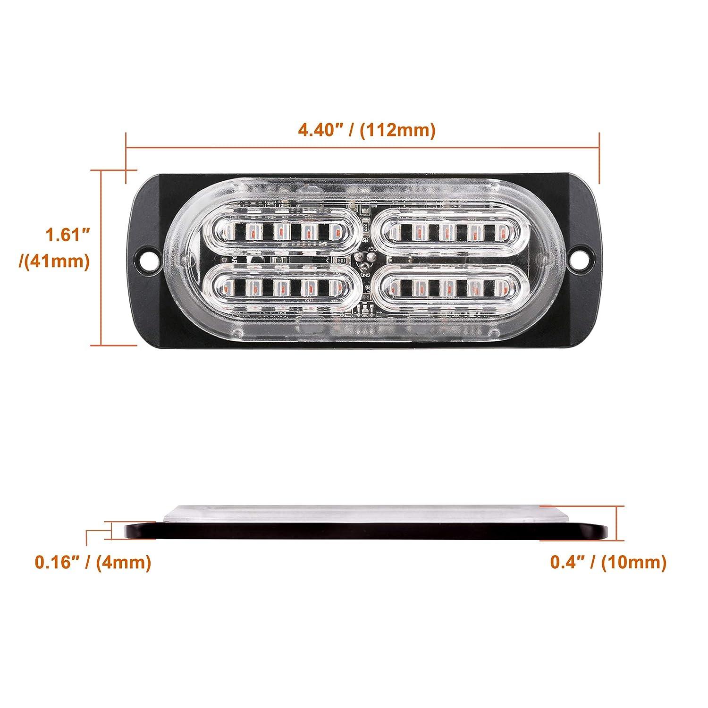 Primelux 4-pack 4.4-inch 20 LED Ultra Slim Strobe LED Lighthead External Emergency Grille Surface Mounting Lights Green//White