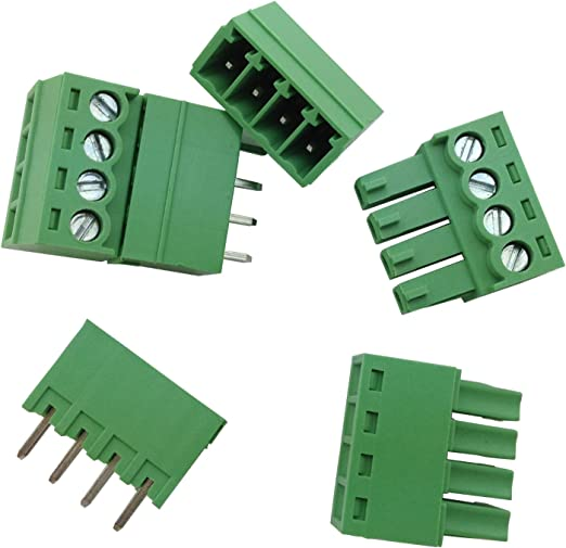 10Pcs 3.5mm Pitch 4 Pin Way Straight Screw Terminal Block Pluggable Connector
