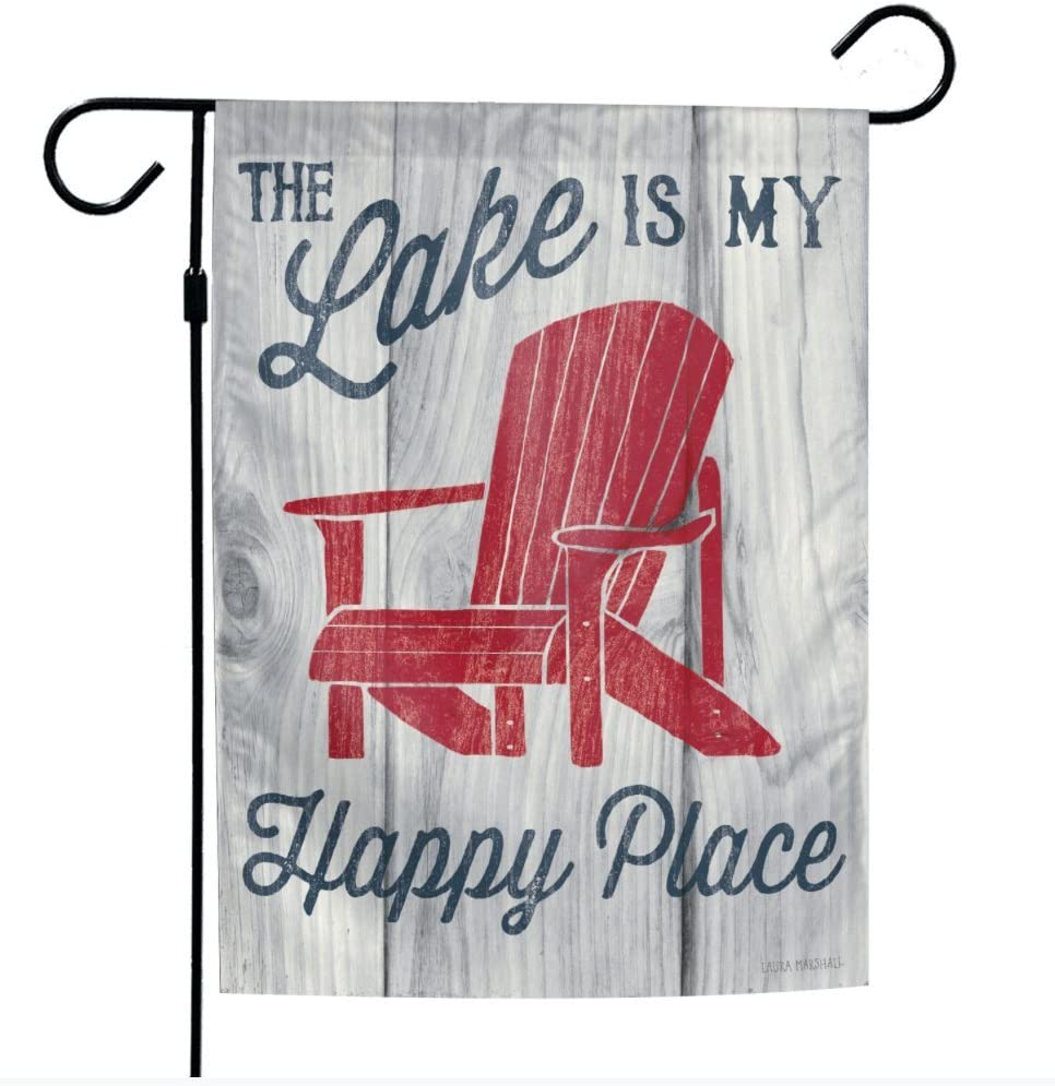 WinCraft 12.5 x 18 inch 2-Sided Design The Lake is My Happy Place Cabin Lakehouse Garden Flag Banner