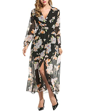 c364d51186 TelDen Women Chiffon Deep V-Neck Floral Print Split Wrap Maxi Dress ...