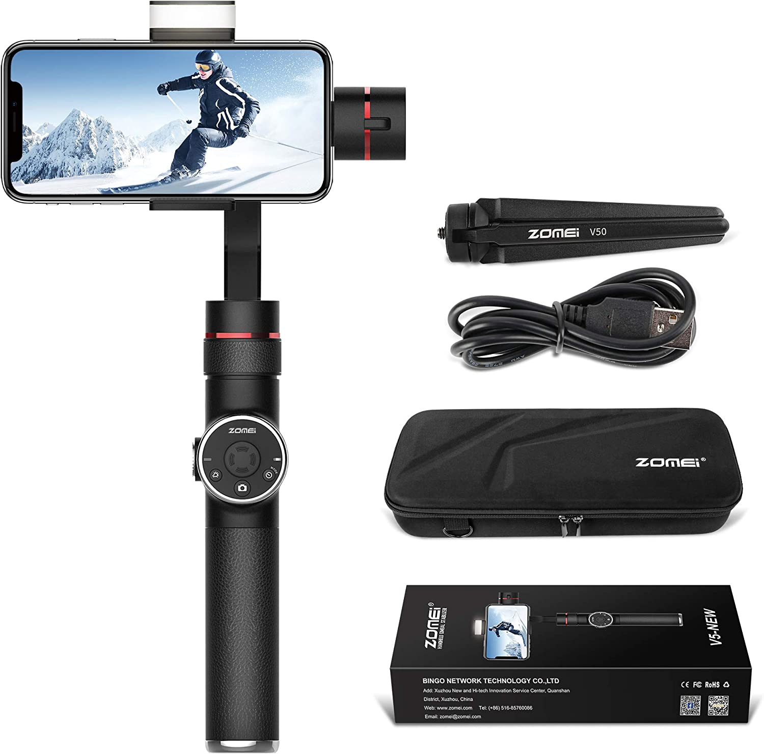BONFOTO V5-New 3-Axis Handheld Gimbal Stabilizer w//Focus Pull /& Zoom for iPhone Xs Max Xr X 8 Plus 7 6 SE Android Smartphone Samsung Galaxy S9 S8 S7 S6 Q2 Edge Black S9 S8