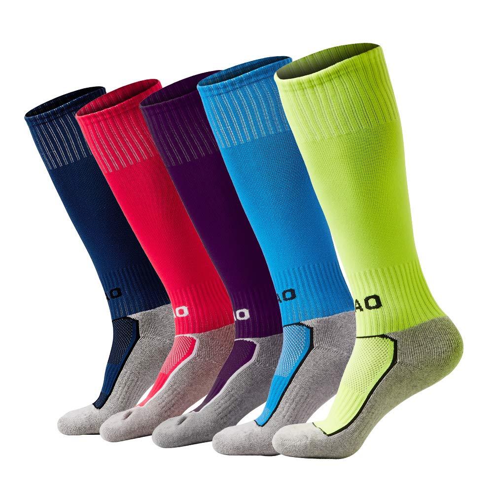 5 Pairs Kids Soccer Socks Boys Girls High Tube Long Knee Athletic Football Socks (4-15 Years Little Kid/Big Kid) (Multicoloured, m) ... by AII