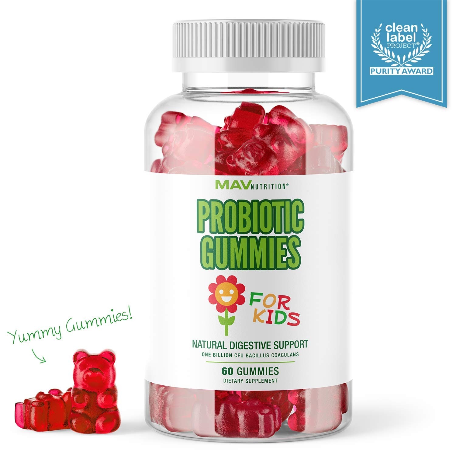 MAV Nutrition Probiotics for Kids Vitamins - Flora Health Support Gummies with 2 Billion Live Probiotic Cultures Fiber Supplement; Natural Flavor with Non-GMO Formula, Gluten-Free; 60 Gummies by MAV NUTRITON