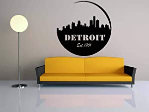 Wall Decals Decor City Skyline Decal-Detroit-Michigan-Vinyl-Sticker-Mural-Wall Art-World Decal-Panorama-Home-Bedroom-Dorm Decor-Room NJS49