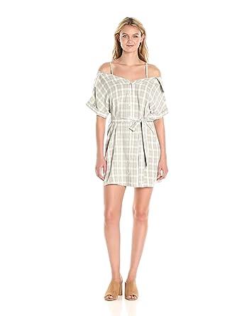 MINKPINK Women's Gingham Print Shoulder Shirt Dress, Washed Black/Off White, X-Small