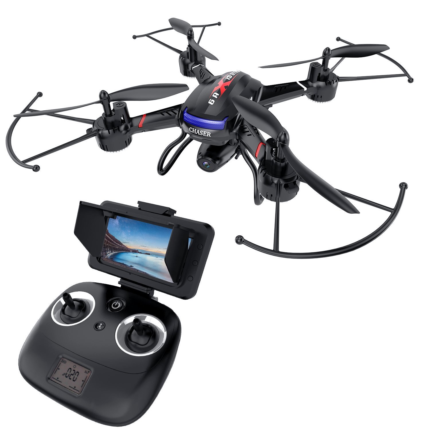 CDM product Holy Stone F181G FPV RC Drone with HD Camera 720P FOV 120° Live Video with LCD Screen for Adults Kids Beginners 5.8G Image Transmission Quadcopter RTF Toys with Altitude Hold Emergency Stop One Key Take-Off Modular Battery big image