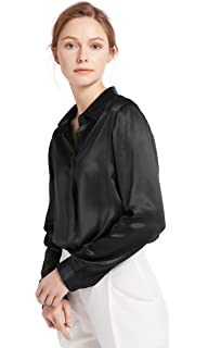 23d35d4810c80a LILYSILK Women s Charmeuse Silk Blouse Long Sleeve Ladies Top Shirt 100%  Pure 22 Momme Grade