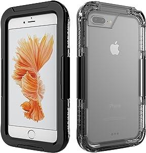 Funda Impermeable para iPhone 6/7/8 Plus, Weideworld PC + Silicona Carcasa Anti-Agua a Prueba de Golpes Anti-Polvo, Anti Choques Waterproof Case Cover Completa Sellado para iPhone 6/7/8 Plus,Negro