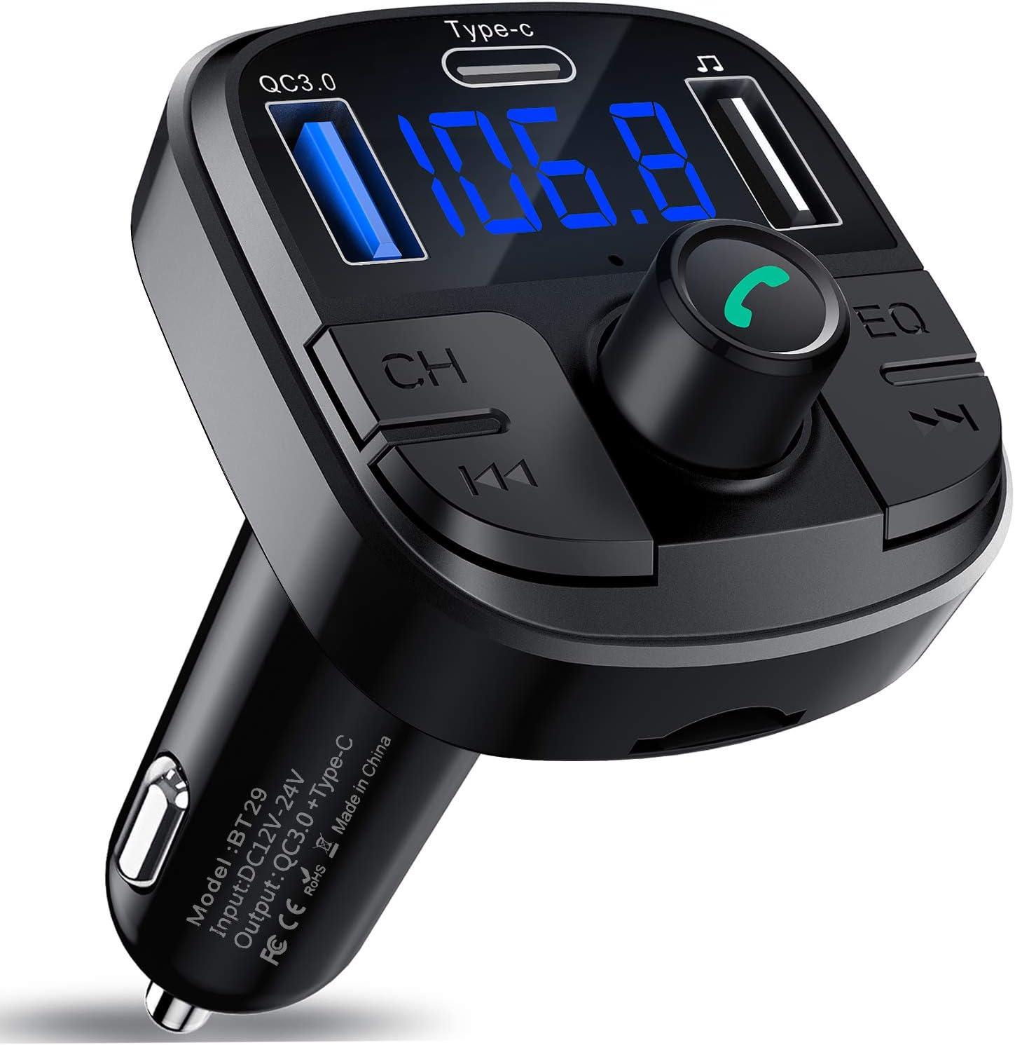 Clydek Bluetooth 5.0 FM Transmisor, Coche Cargador de QC3.0 y Tipo C Carga Rápida, Radio Audio Adaptador Reproductor MP3 Admite Llamada Manos Libres y Navegación por Voz, Unidad USB, Tarjeta TF