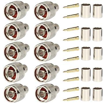 N enchufe Crimp RF coaxial Conector 50 Ohm para LMR400 ...