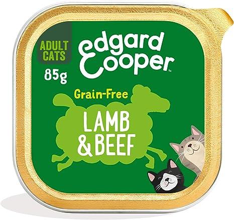 Edgard & Cooper Comida humeda Gatos Adultos sin Cereales, Natural con Ternera y Cordero Frescos. Comida Sana Rica en nutrientes y antioxidantes ...
