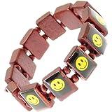 Élastique en bois Smiley Face Bracelet extensible