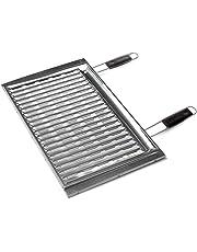 Sunday grill - Griglia Biologica in Acciaio Inox con Manici in Legno - con Piedini di Appoggio